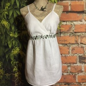 White Summer Top Maternity Embroidery Dots Boho M